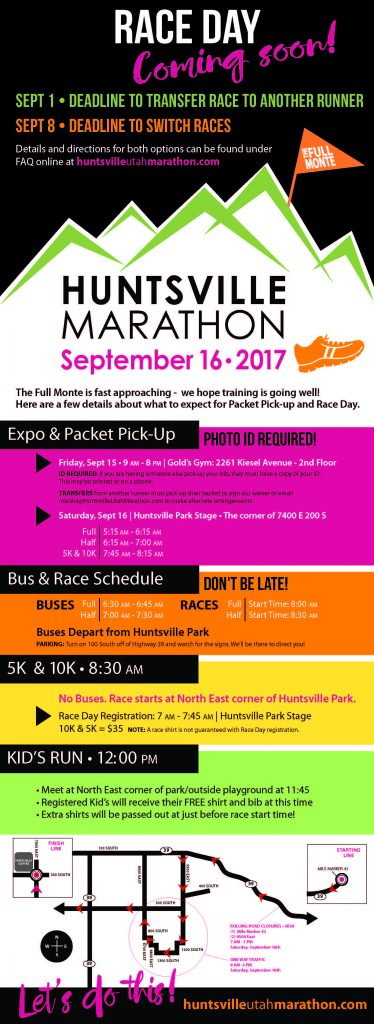 Click for Printable Race Day info Sheet