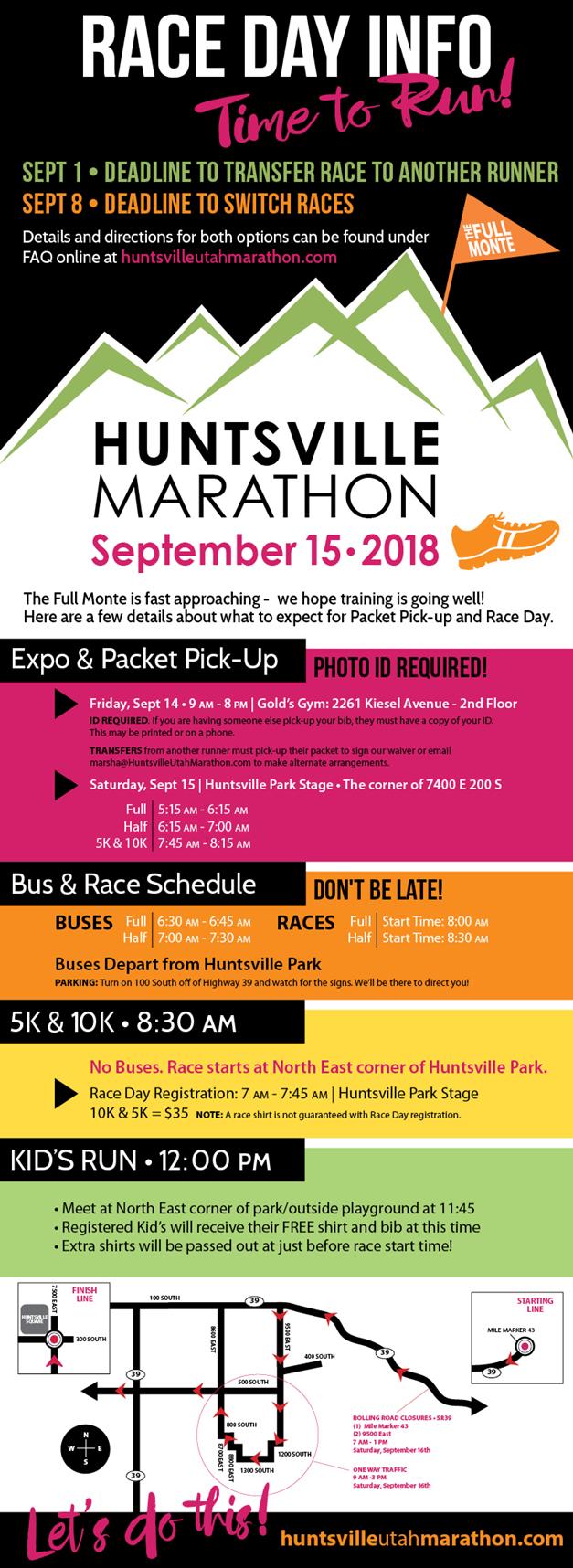 Huntsville Marathon Race Day Info 2018